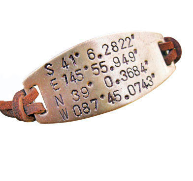 Latitude Longitude Bracelet with Two Locations