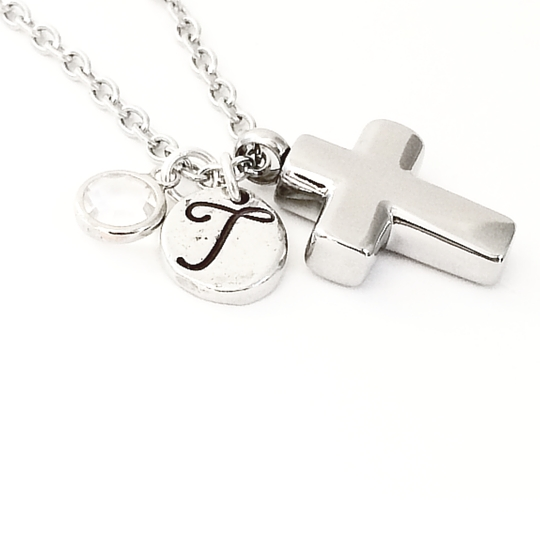 Personalized Cross Cremation Urn Necklace