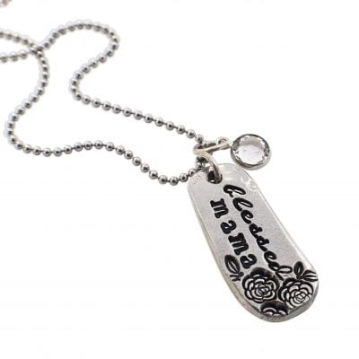 Stamped Pewter Blessed Mama Necklace