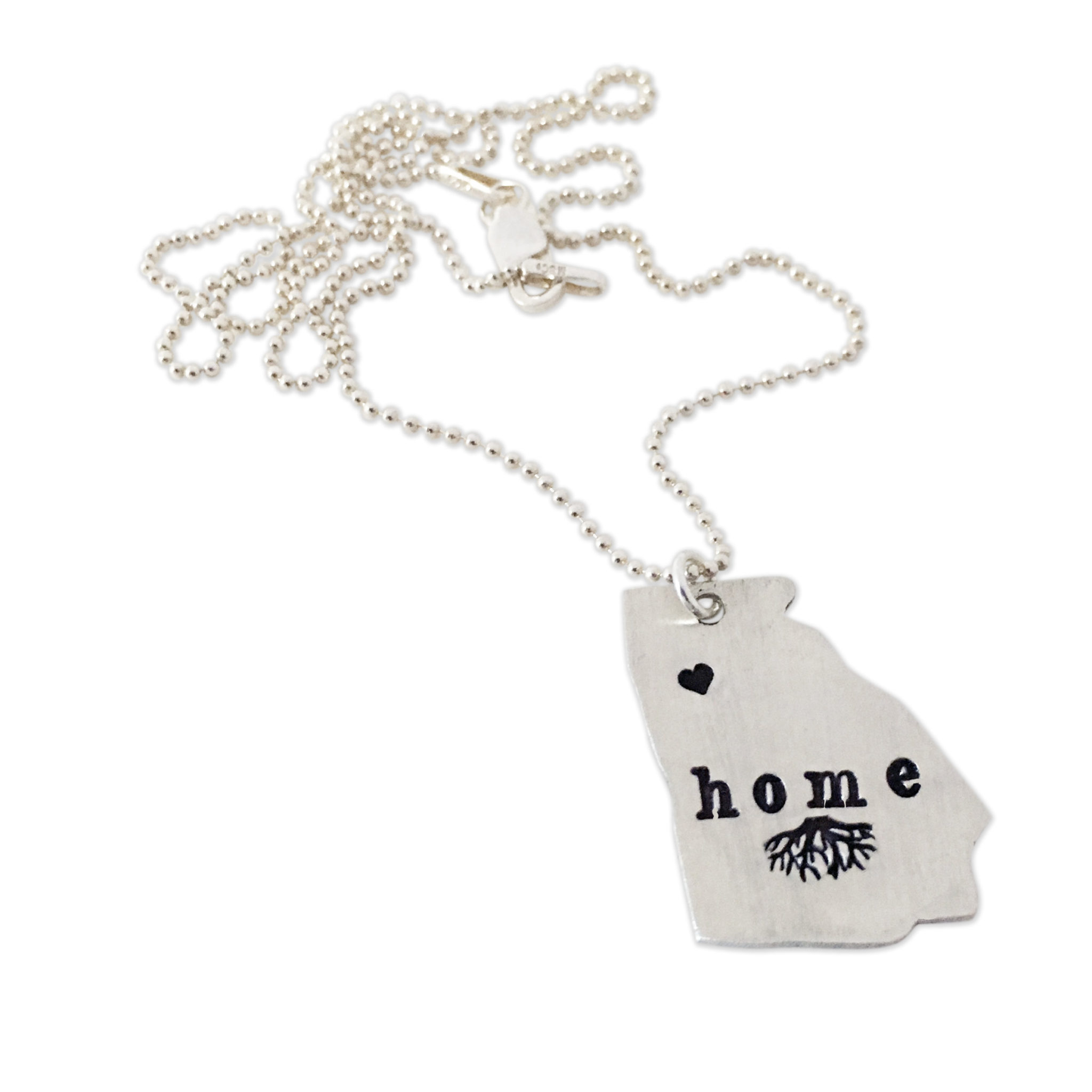 Sterling Silver State Necklace with Heart