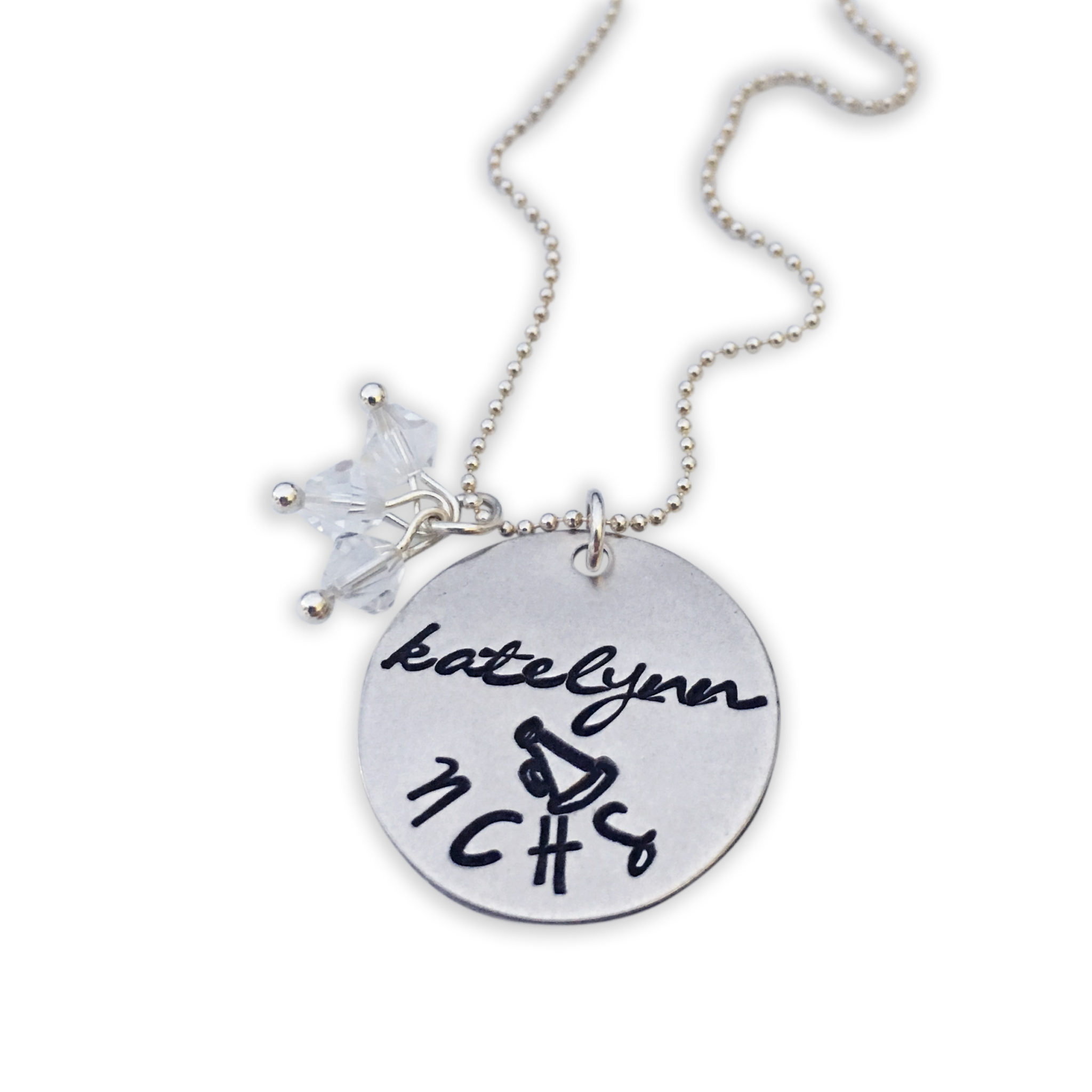 Personalized Sterling Silver Cheerleader Necklace