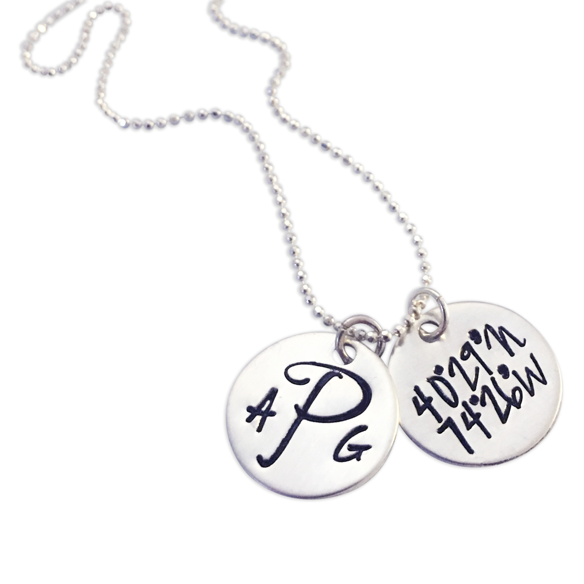 Sterling Silver Monogram Custom Coordinates Necklace