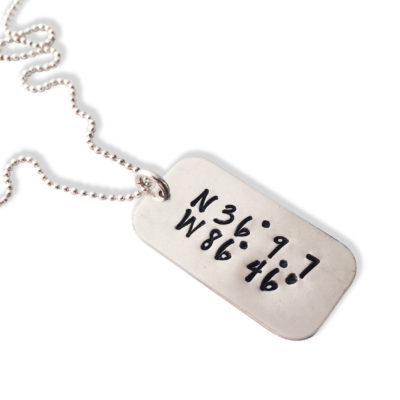 Sterling Mini Dog Tag Coordinate Necklace